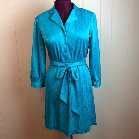 Vintage Dresses & Skirts - Vintage 70s/80s Teal V Neck Disco Dress